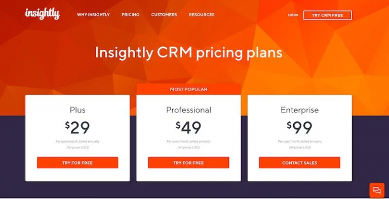 Insightly Paid Plans