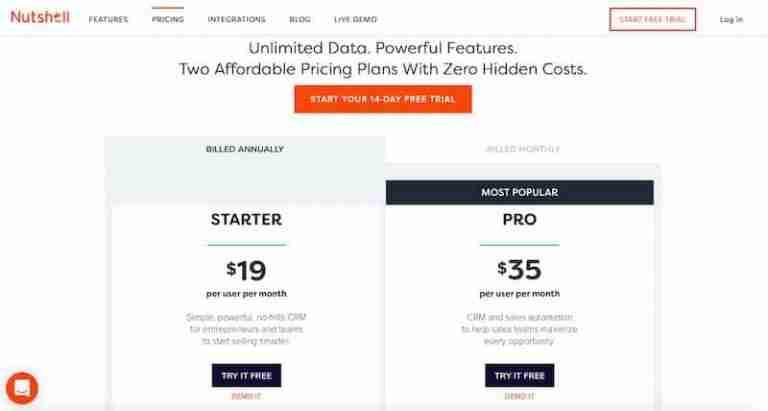 Nutshell CRM Pricing