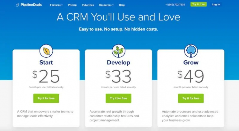 Pipelinedeals CRM Pricing