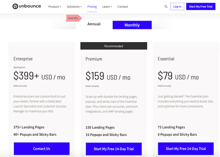 Unbounce-pricing