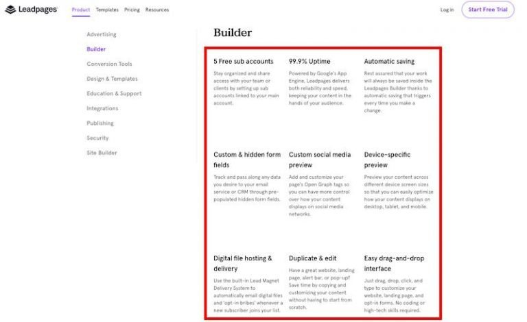 landing-page-builder-leadpages-features