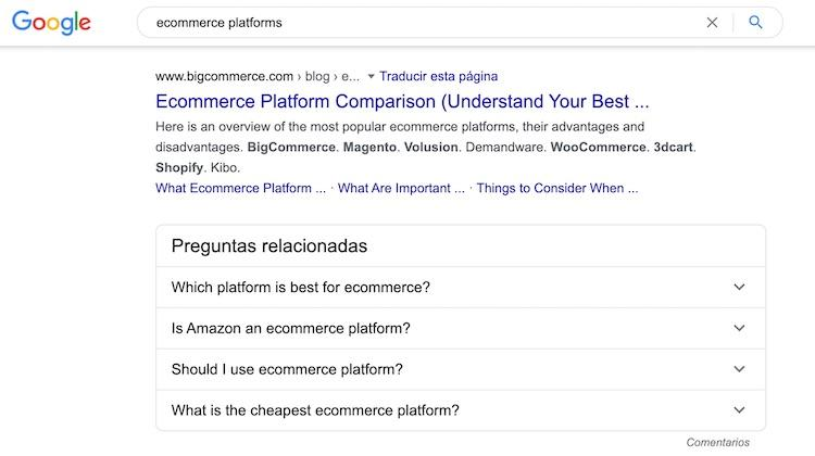 google-search-for-ecommerce-platforms